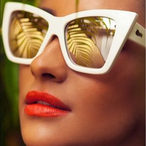 Quay by Shay Mitchell white sunglasses